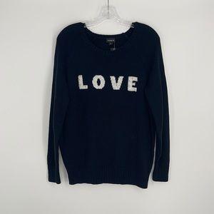 """TORRID """"LOVE"""" sequins black long sleeve sweater"""